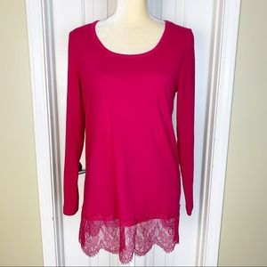 Soft Surroundings Red Knit Lace Hem Top Size S